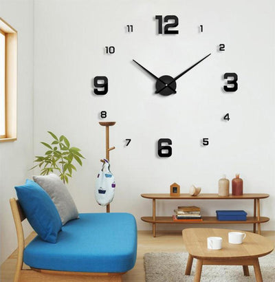 Väggklocka Black - Large Modern Wall Clock