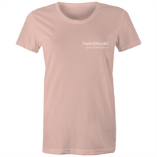 Load image into Gallery viewer, Women's Maple Tee White Text