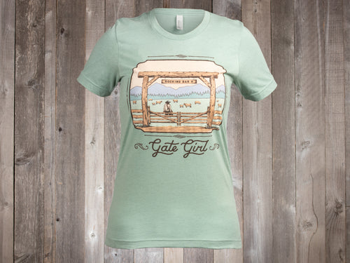 The Rocking Bar H Ladies Gate Girl Tee - sage