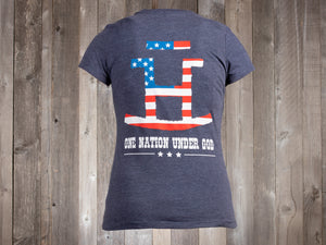 The Rocking Bar H One Nation Under God Ladies' Tee