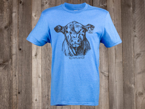 The Rocking Bar H F501 Calf Tee in Heathered Blue