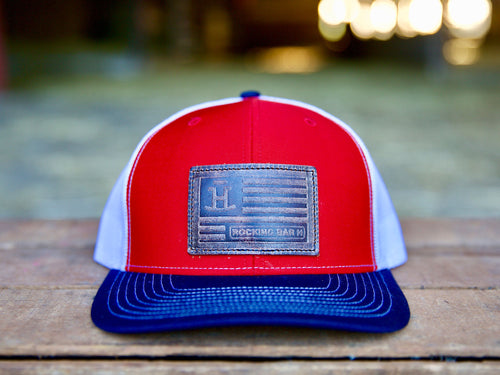 Rocking Bar H American Flag Leather Patch Hat