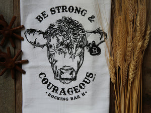 Rocking Bar H Ranch House Kitchen Towel - Strong & Courageous Bull