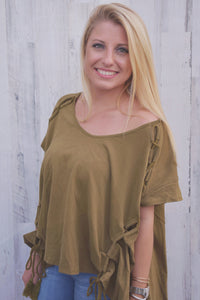 Olive Modern Slant Lace up Tee