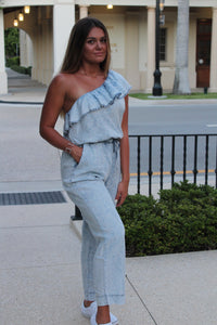 Distressed Denim Jumpsuit