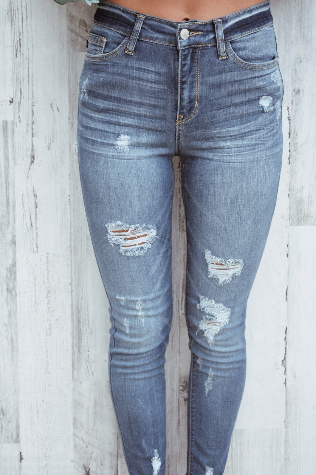 Distressed Hem Skinnies