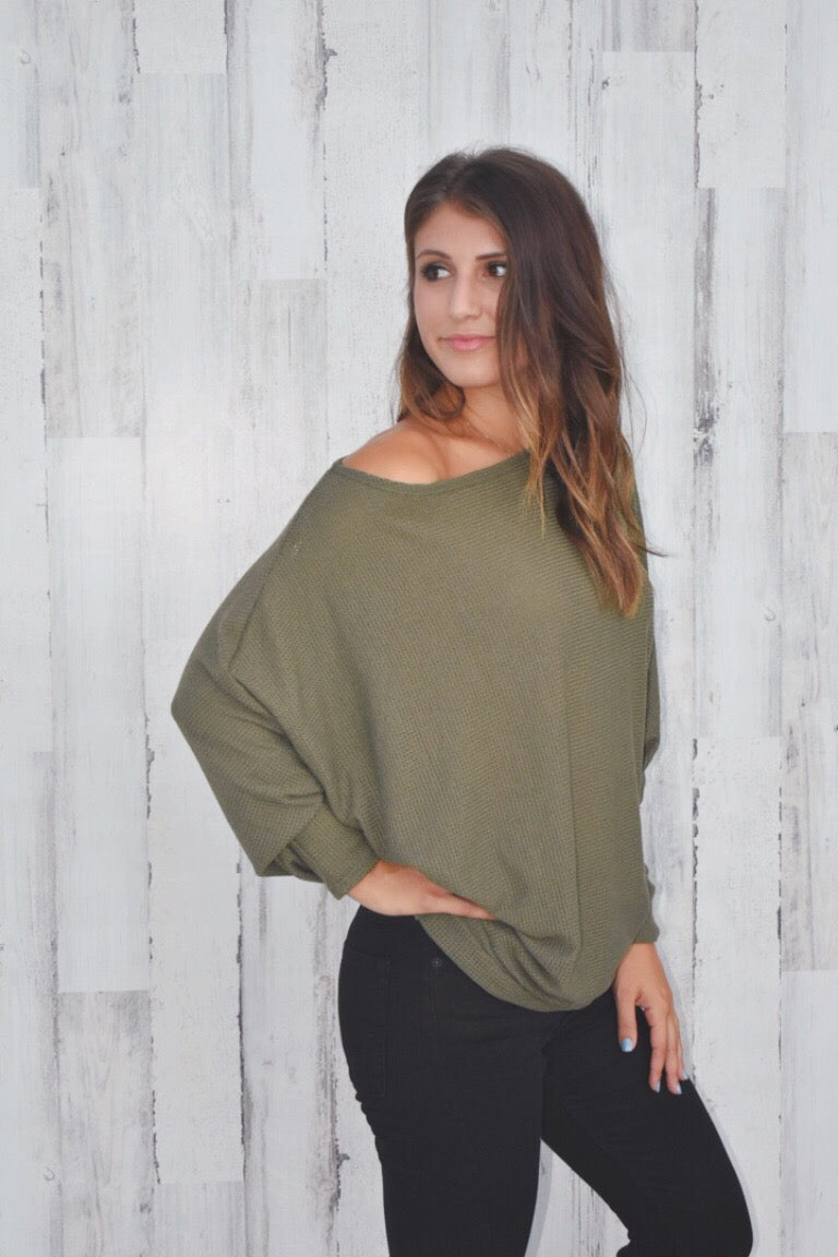Olive Slouchy Knit