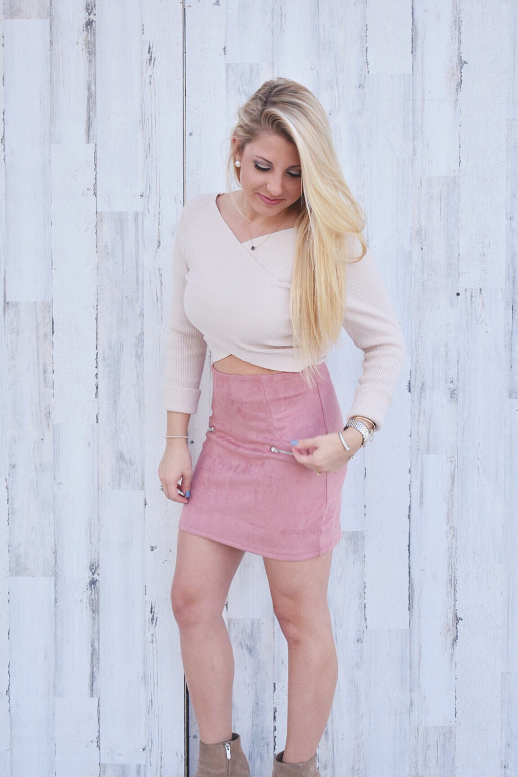 The Dusty Rose Suede Skirt