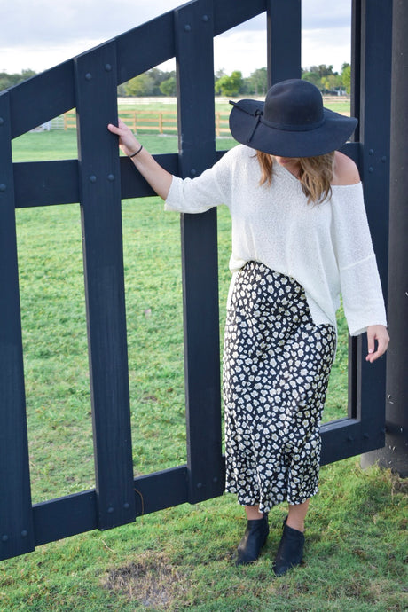 High Waist Leopard Midi Skirt