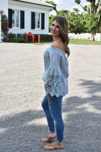 Spring Blue Off Shoulder Top