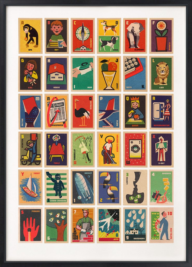 Vintage Matchbox Labels A-Z
