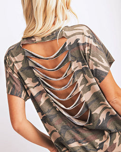 Camourflage Print Cutout Back Casual Top