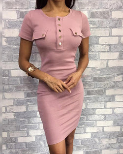 Short Sleeve Buttoned Bodycon Dress