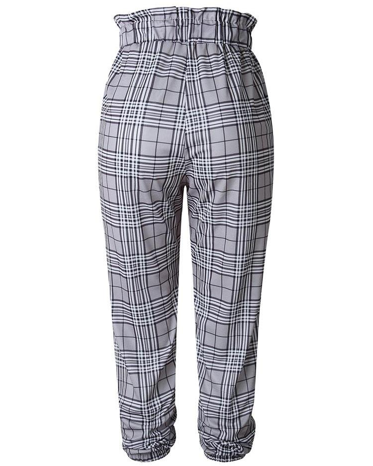 High Waist Plaid Tied Waist Casual Pants