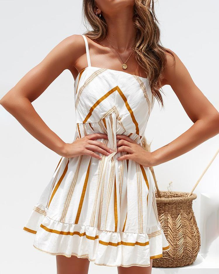 Spaghetti Strap Striped Casual Dress