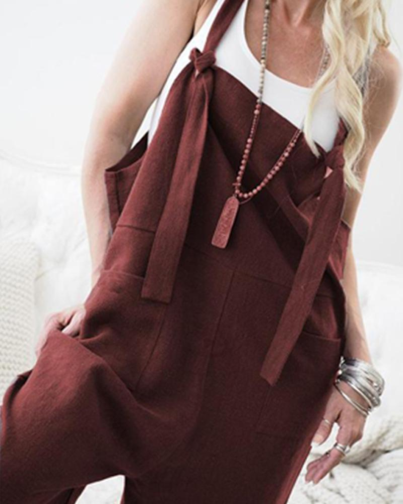 Solid Thick Strap Big Pocket Casual Jumpsuit