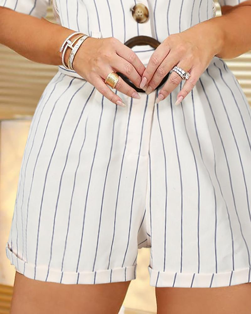 Striped Buttoned Detail Casual Romper