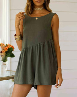 One-piece shorts sleeveless casual backless jumpsuit