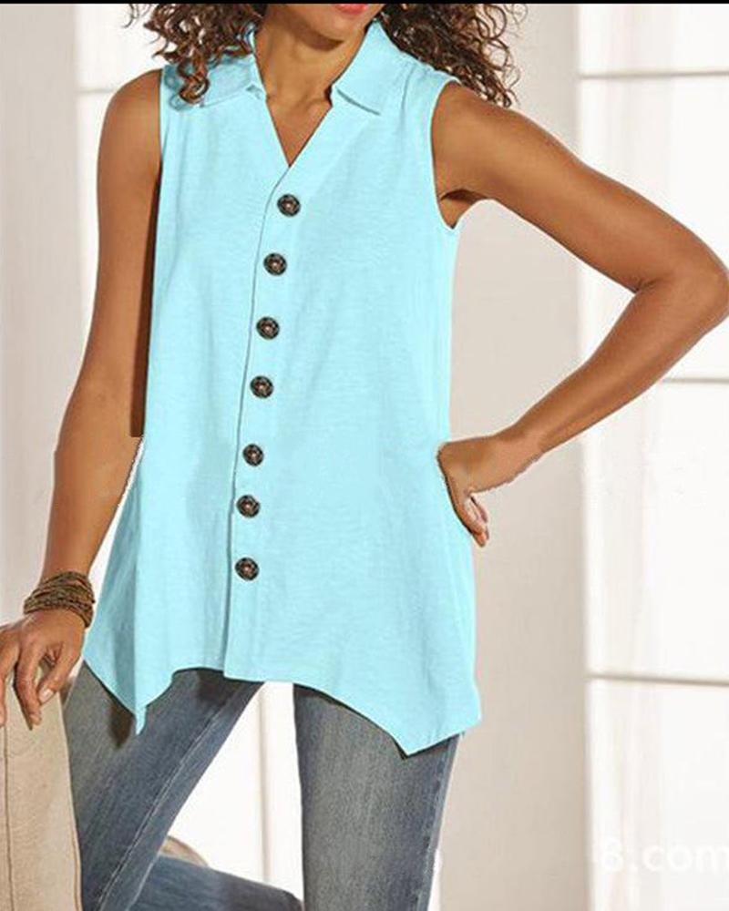 Solid V-neck Sleeveless button-down Shirt