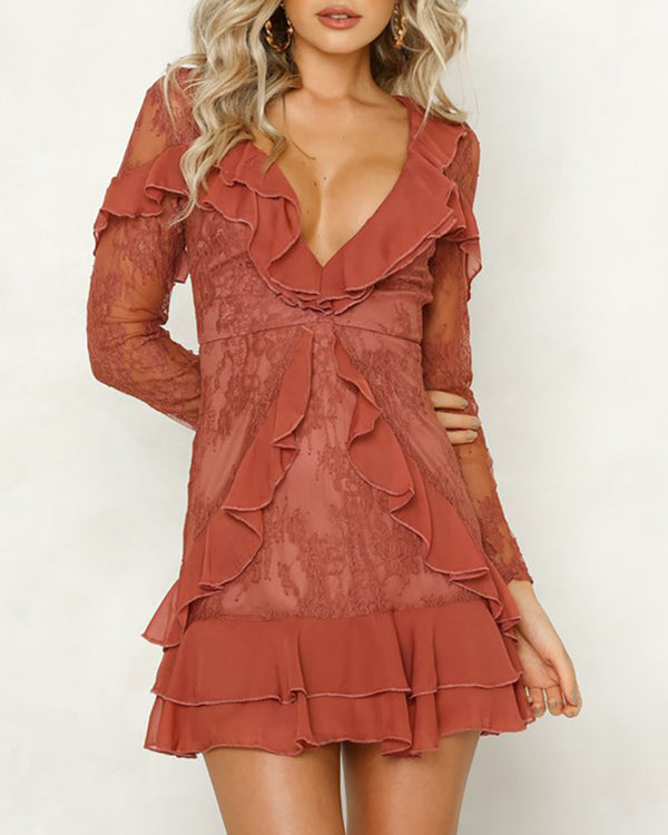 V-Neck Ruffles Design Lace Casual Dress