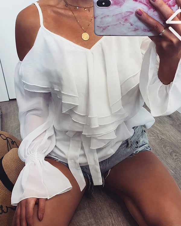 Ruffles Cold Shoulder Bell Sleeve Blouse
