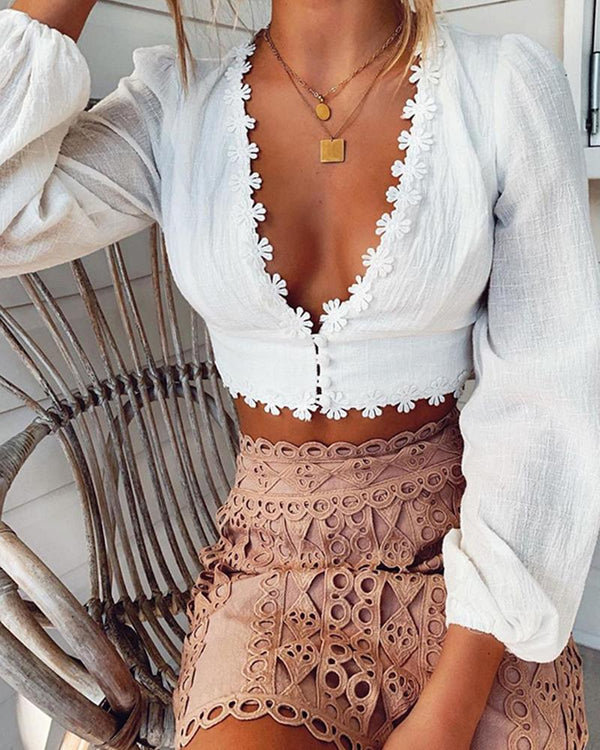 Fleur Applique Deep V Neck Tops