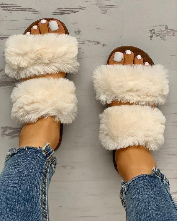 Fluffy Design - Chaussures plates à bout ouvert