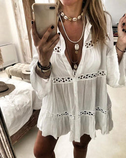 Hollow Out Bell Sleeve Blouse