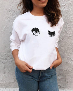 Sweat-shirt blanc imprimé femmes Big Eyes