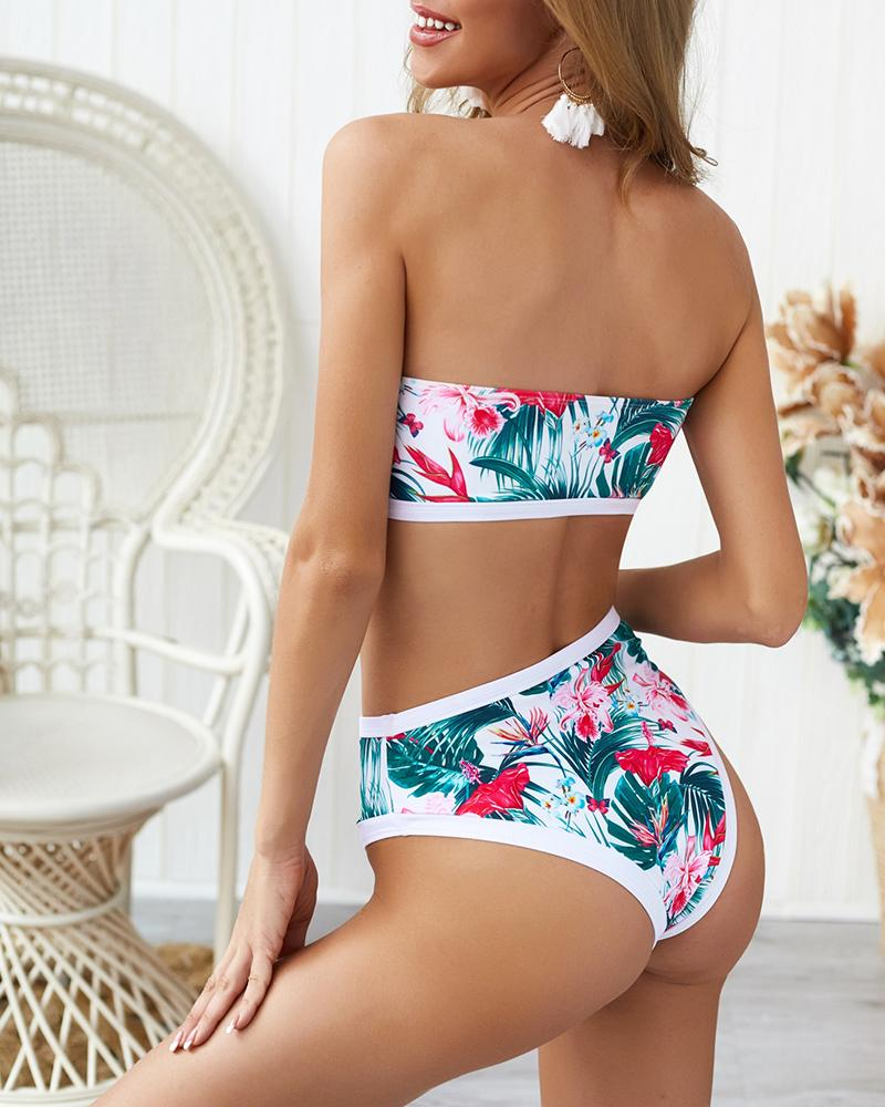Ensemble Bikini Tube Imprimé Tropical