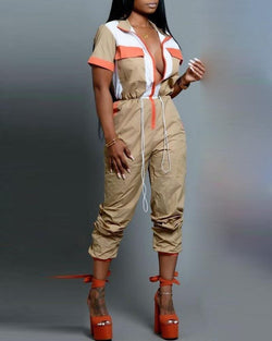 Colorblock Insert Drawstring Cargo Jumpsuit