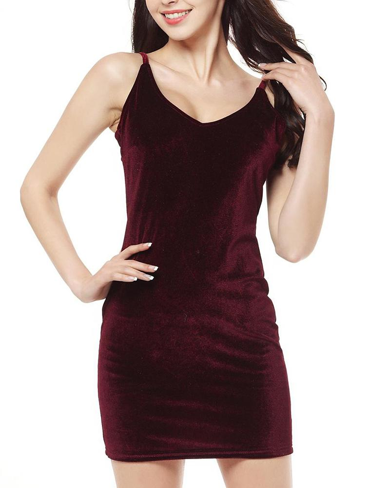 Velours Bodycon Mini Cami Dress