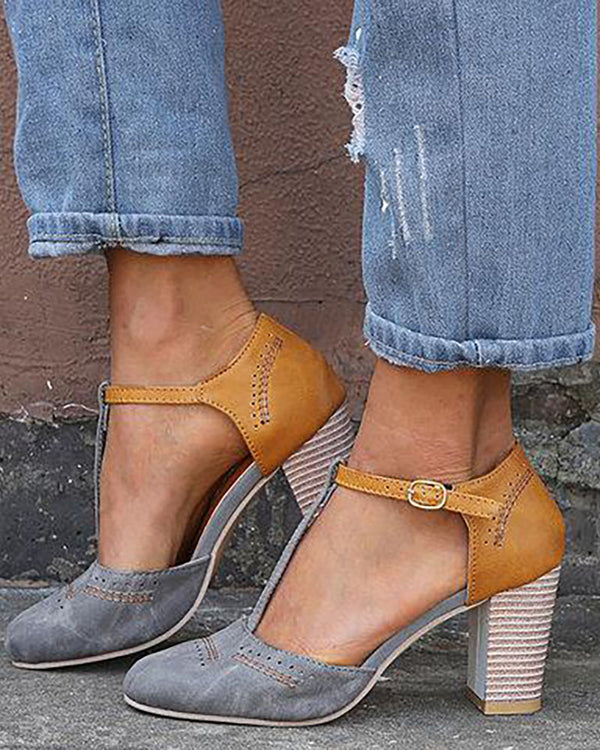 Colorblock Ankle Buckled Chunky Talons