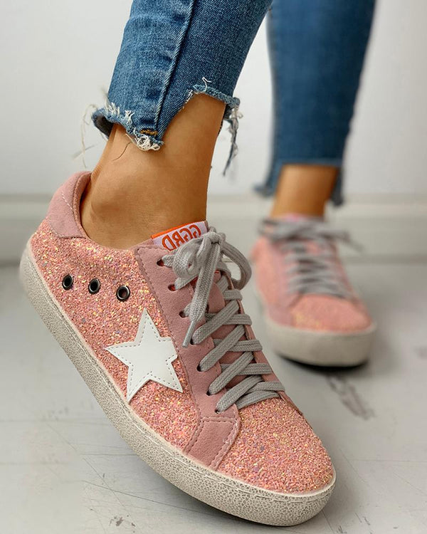 Sequins Star Design Baskets à lacets tout-aller