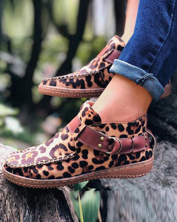 Slip-on Leopard One Strap à bout rond