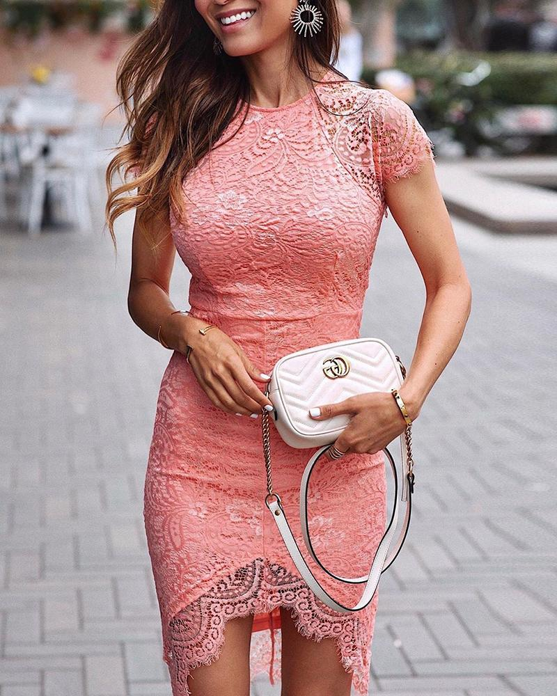 Short Sleeve Eyelash Lace Bodycon Dress