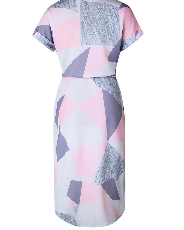 Geo Print Tie Waist Curved Hem Casual Dress