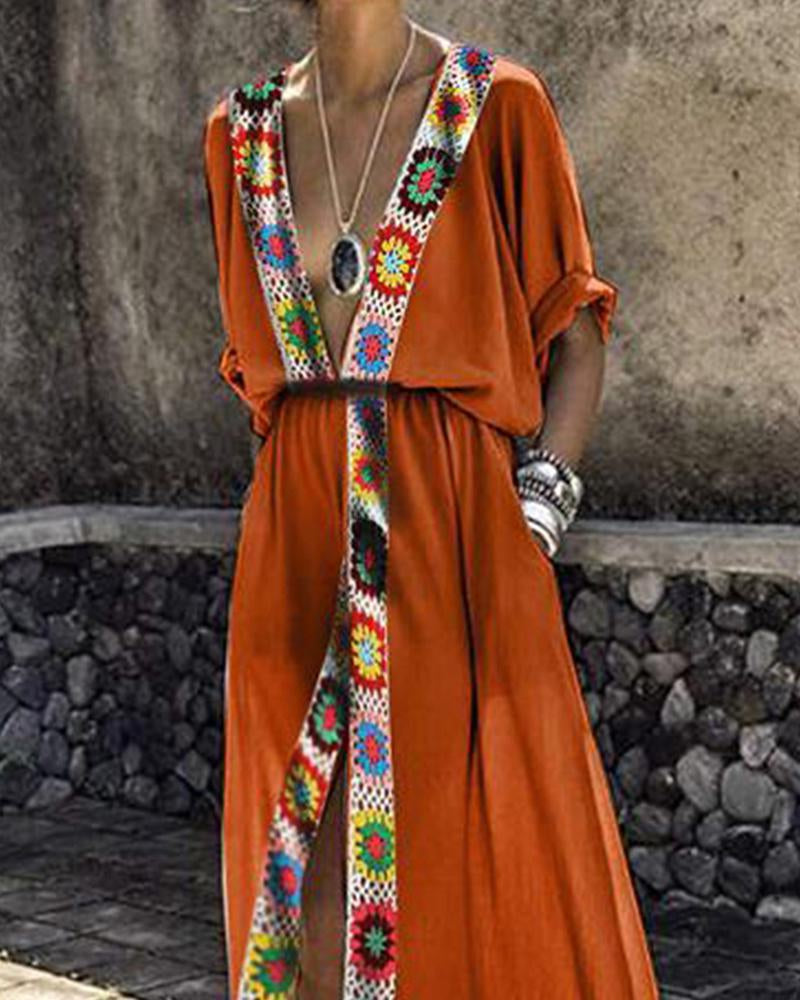 Crochet main couture robe fourche fendue robe sexy robe de plage