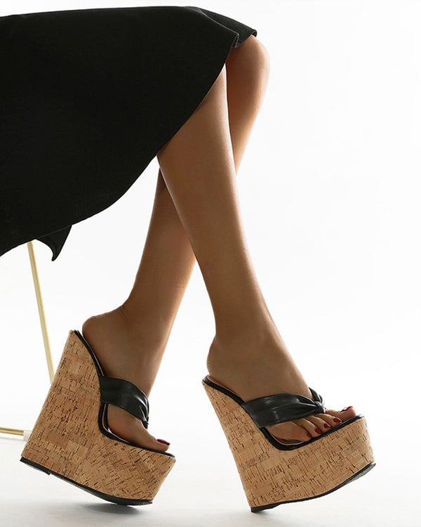 Sandales PU Patchwork Flip Flop Wedge Chaussures