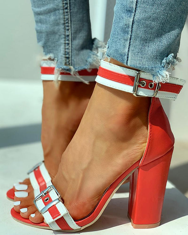 Cheville Boucles Colorblock Chunky Heels