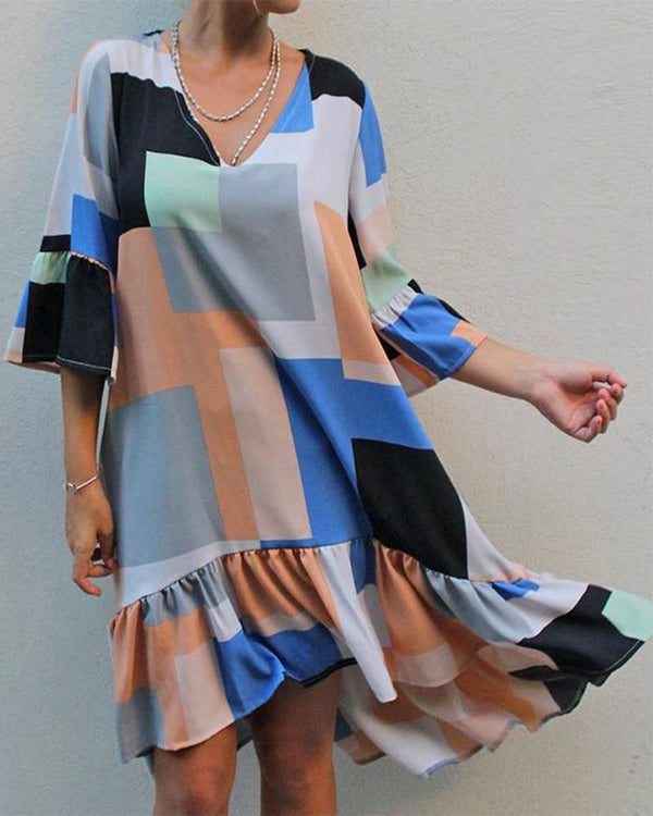 Robe Col V Color Block