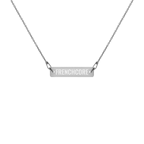 Engraved Silver Bar Chain Necklace - Ravekläder | Rave, Festival & Clubwear clothing