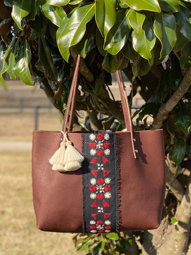 Signature Indigo Barn Tote- Small Embroidered I