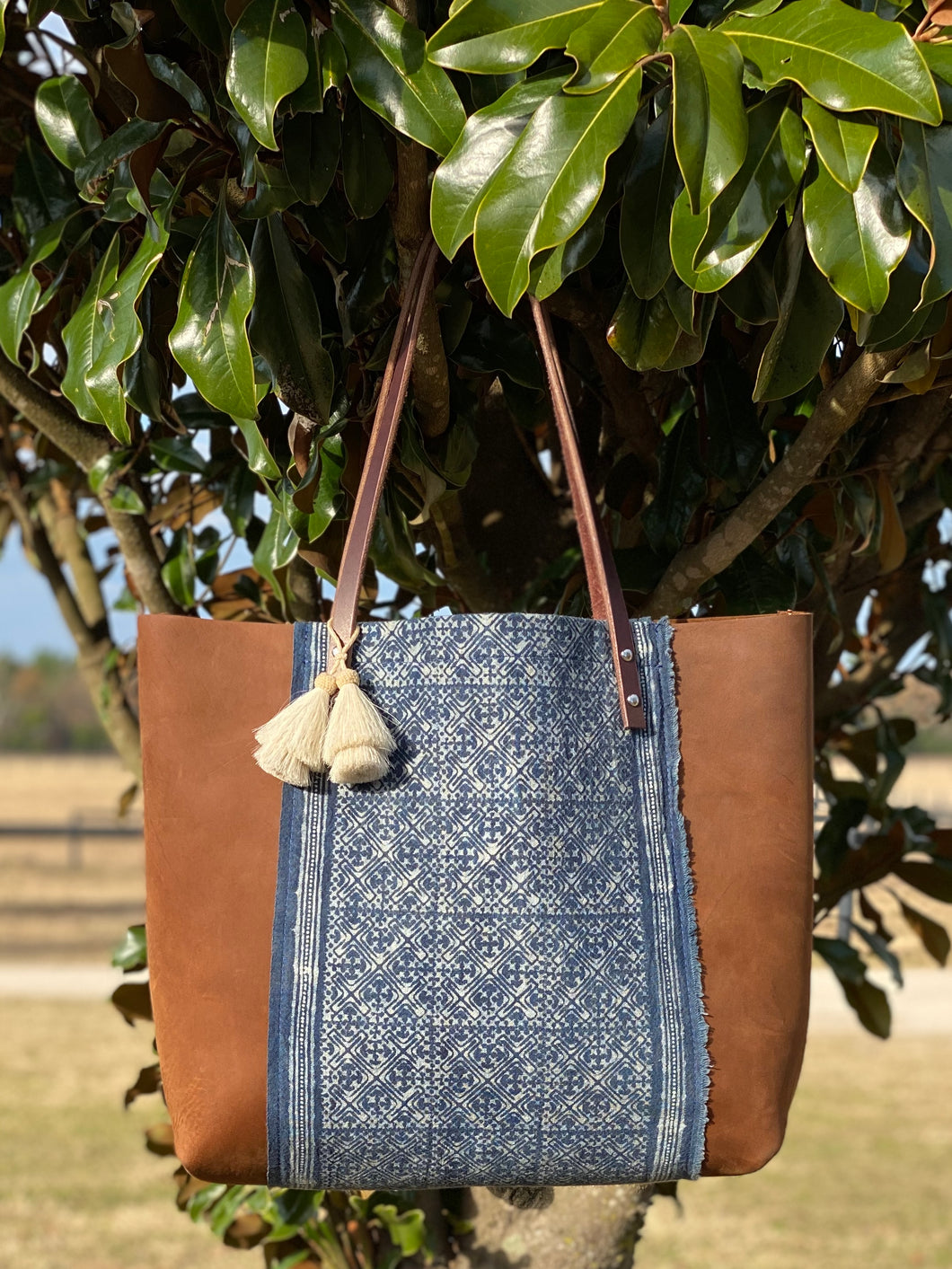 Signature Indigo Barn Tote- Large VI