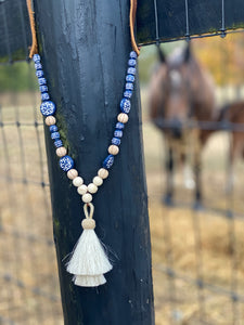 Horsehair Tassel Necklace- Blue