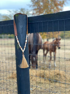 Horsehair Tassel Necklace- Brown