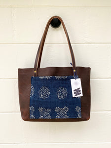 Small Indigo + Worn Saddle Barn Tote