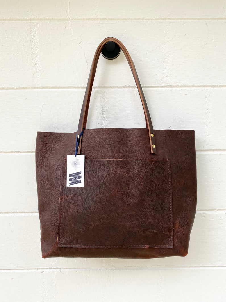 Large Worn Saddle Barn Tote with Outside Pocket