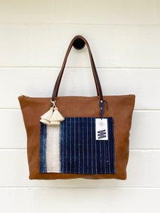 Large Indigo + Tumbleweed Barn Tote with Zipper