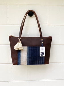 Small Indigo + Tumbleweed Tote with Zipper